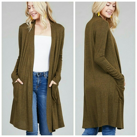 Sweaters Olive Green Long Cardigan Duster Pockets Poshmark